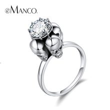 e-Manco 925 Sterling Silver Four Skull Rings Unisex Punk Black and White Zircon Rings Wholesale Fashion Jewelry(China)