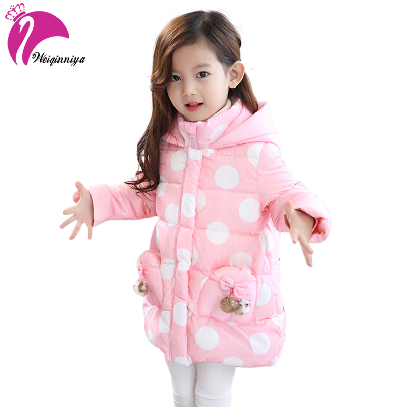 weiqinniya Girls Down Parkas Jackets Winter Jacket Girl Fashion Children Dot Down Jacket For Girl Windbreaker Parka Jackets Girl аккумулятор craftmann для samsung galaxy note 2 n7100 3100mah craftmann