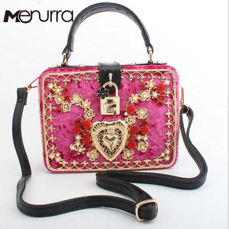 Velvet Embroidery Diamond Red Rose Flower Beaded Fashion Women Shoulder  Handbags Crossbody Bags Evening Bags Box 25dd43ffa55e