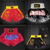 MMA FIGHT Hombres Muay Thai Pantalones Cortos de Boxeo Lucha Kung Fu de Entrenamiento Deportivo Corto Negro/Rojo
