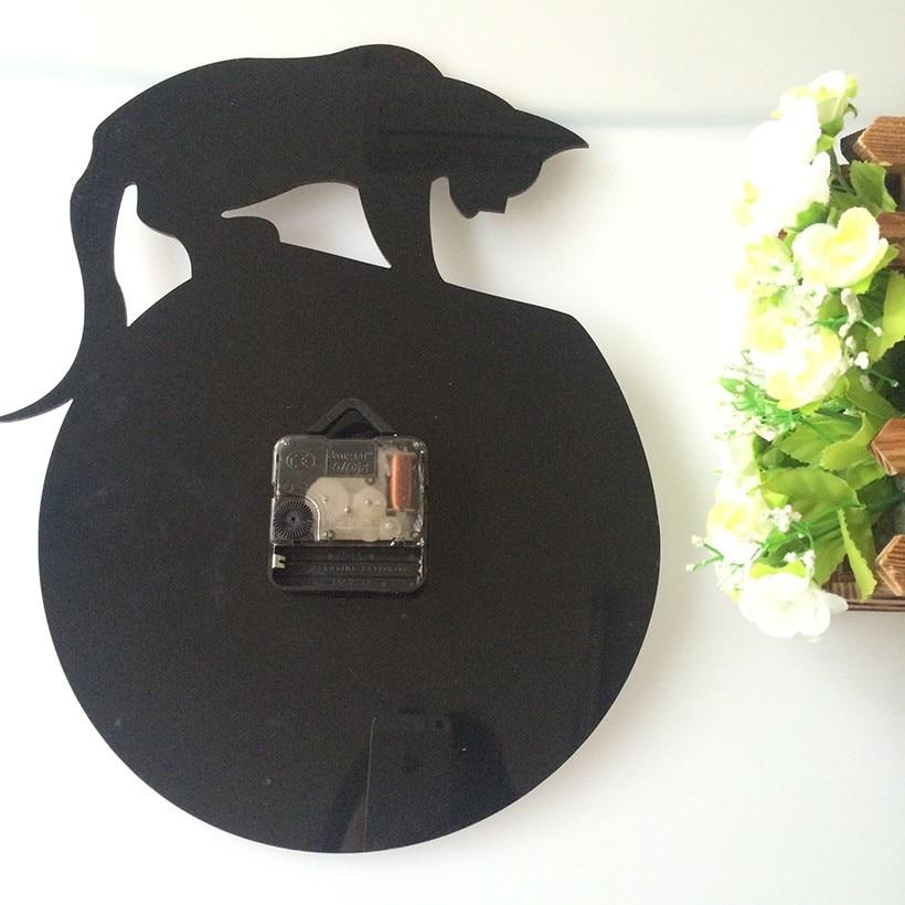 Acrylic DIY Black Cat Feet  Wall Clock
