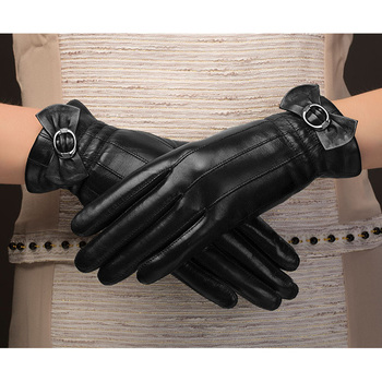 Black Bow Genuine Leather Gloves Fashion Women Sheepskin Glove Winter Leather Driving Gloves Hot Trend NW216-5 фото