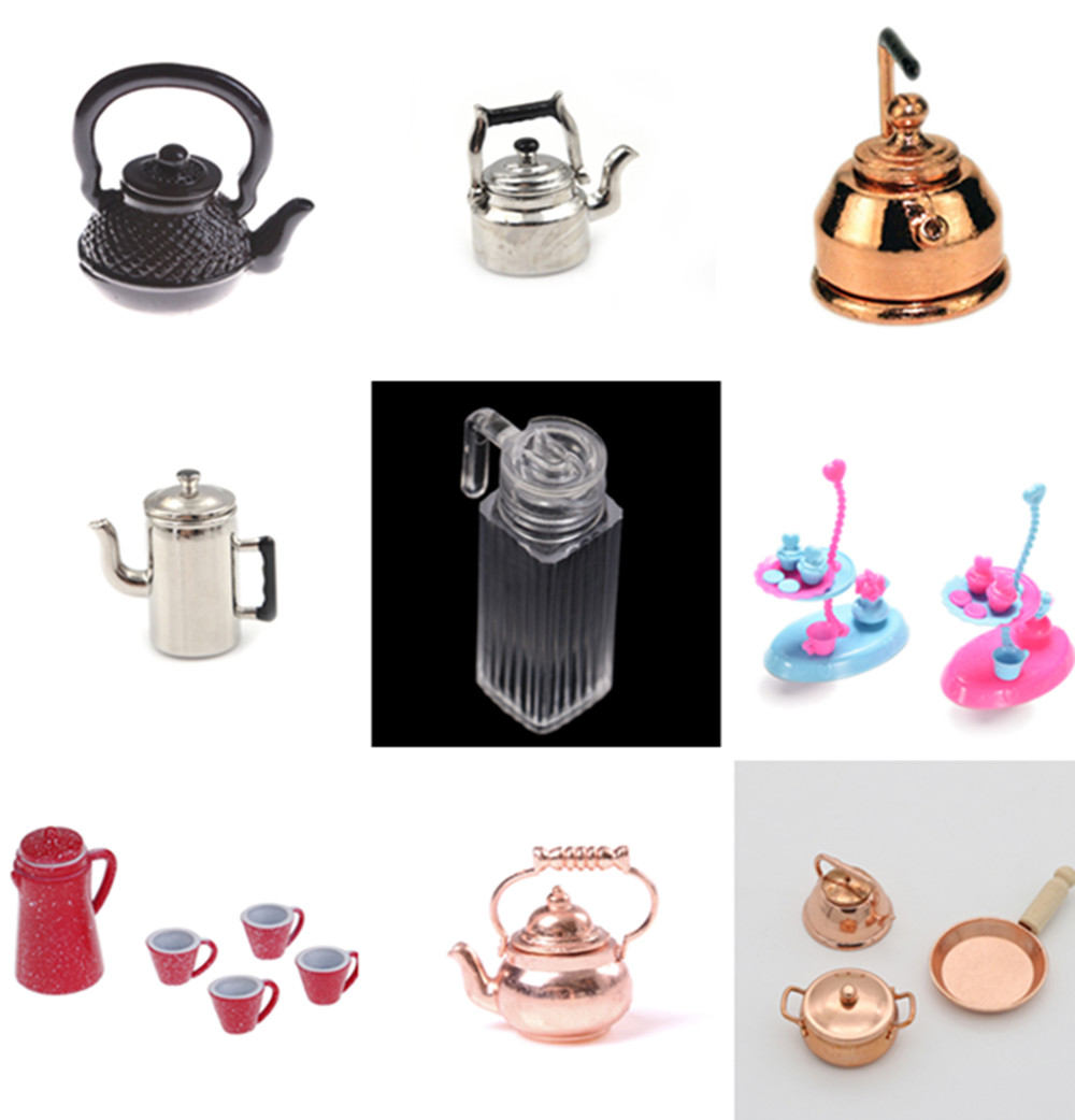 Scale 1/12 Mini Kettle Simulation Furniture Tea Pot Kitchen Model Toys For Doll House Decoration Dollhouse Miniature Accessories