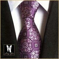 Fashion Design 8cm Neck Tie Classic Purple Geometric Cravatas High Quality Gentlemen Woven Gravatas for Adult