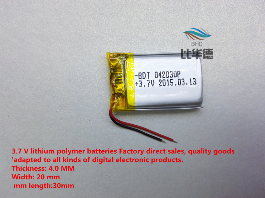 free shipping 1pieces lot 042030 180 mah lithium polymer battery quality goods quality of CE