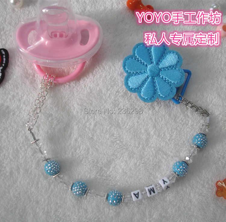 2015 nuevo hecho a mano azul Crystalin bling beads dummy clip chupete clips bebé chupete cadena y clip para bebé