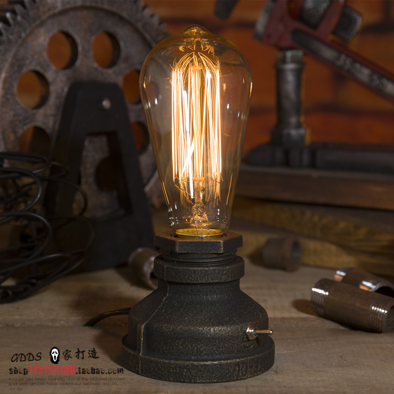 Vintage Retro Water Pipe E27 LED Table Light Desk Lamp Bedroom Reading Room Home Corridor Loft Club Decor Cafe Gift with bulb anon шлем для сноуборда anon raider l