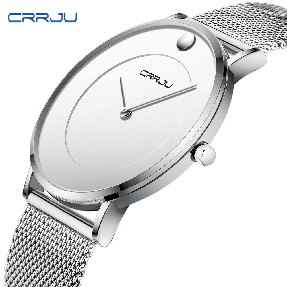 CRRJU Mens Ultra Thin Watches Luxury Business Quartz Slim Watch Men Military Waterproof Dress Mesh Band Wristwatch Zegarek Meski