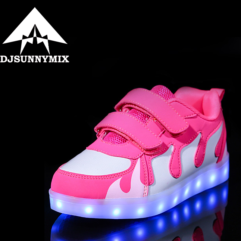 DJSUNNYMIX USB Basket Led child Shoes With Light Up Kids sole Luminous Sneakers Children`s flame Glowing Shoe for girls boys
