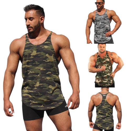 f955c22a8ddb5 ITFABS New Men Camo Running Vest Stringer Bodybuilding Tank Top Gym Fitness  Singlet Sleeveless Muscle Vest Plus Size s-2XL