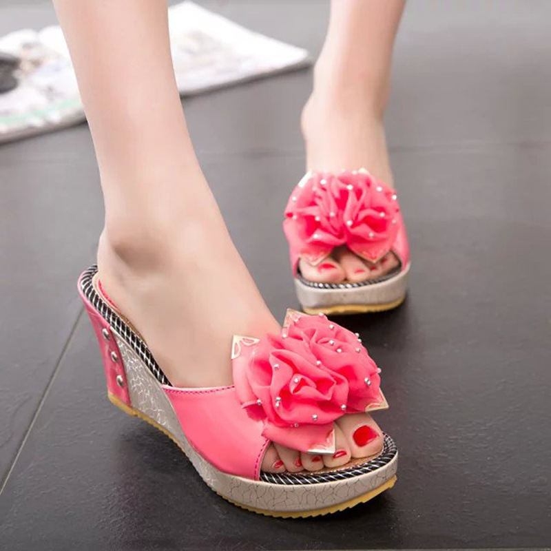 2017 Summer Women Mules Clogs Comfortable Flower fish Mouth Wedge Sandals Female Casual Original Beach Sandals