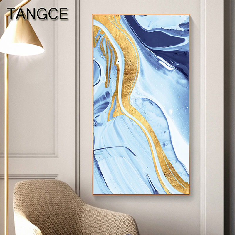 Abstract Golden Years Canvas Painting Tableaux Big Poster Print Blue Green Wall Art Picture for Living Room Modern Cuadros Salon