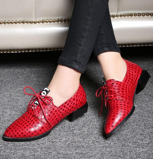 ФОТО 2015 Brand shoes Spring and autumn Crocodile deep mouth thick with high-heeled shoes waterproof shoes commuter leather shoes 958