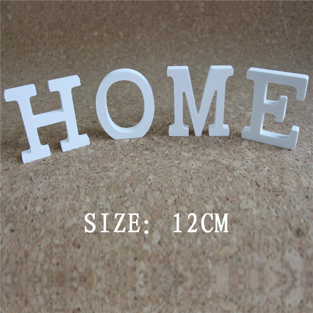 Բարձրություն 12 սմ տնային զարդարանք Հարսանեկան զարդեր արհեստական փայտե փայտե սպիտակ նամակներ այբուբեն Ծննդյան երեկույթի նվերների համար