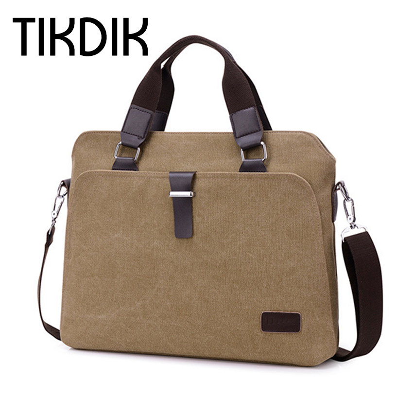 Gloednieuwe Aktetas Heren Messenger Bags Vintage Canvas Schoudertassen Heren Kantoor Zaken Crossbody Tas Attache Laptop Case
