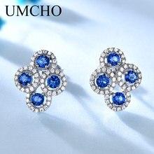 UMCHO Solid 925 Sterling Silver vytvořené modré Sapphire Stud náušnice pro ženy výročí narozenin dárky Značka drahokam šperky