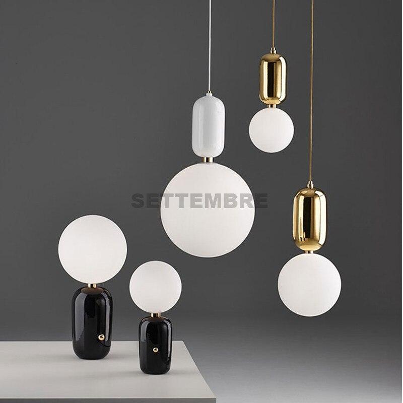 Modern Pendant Light Fixture Glass Ceiling Lamp Globe Hanging Lighting White Gold Black Color