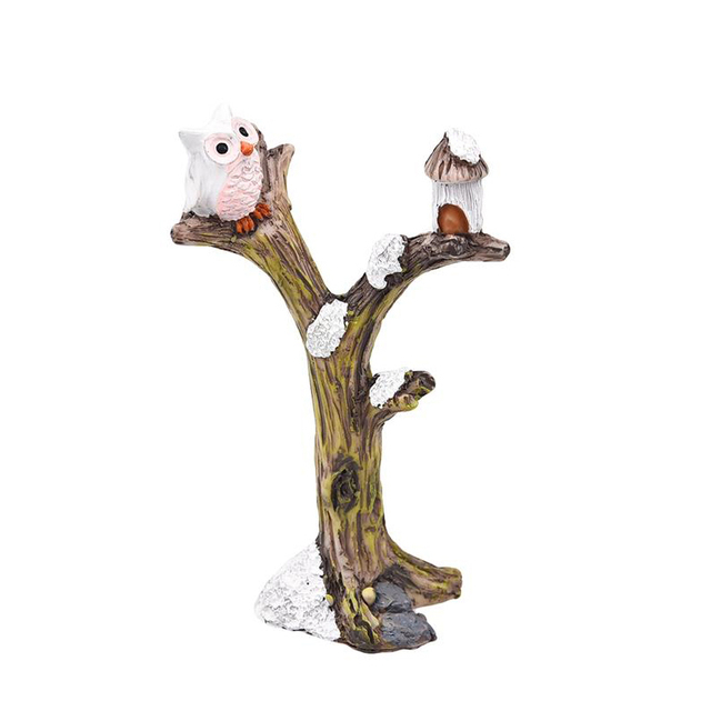 2pcs/lot Cute Owl Tree Miniature Garden Decoration Vintage Cartoon Animals Figurines Fairy Modern Home Decorations Accessories 5