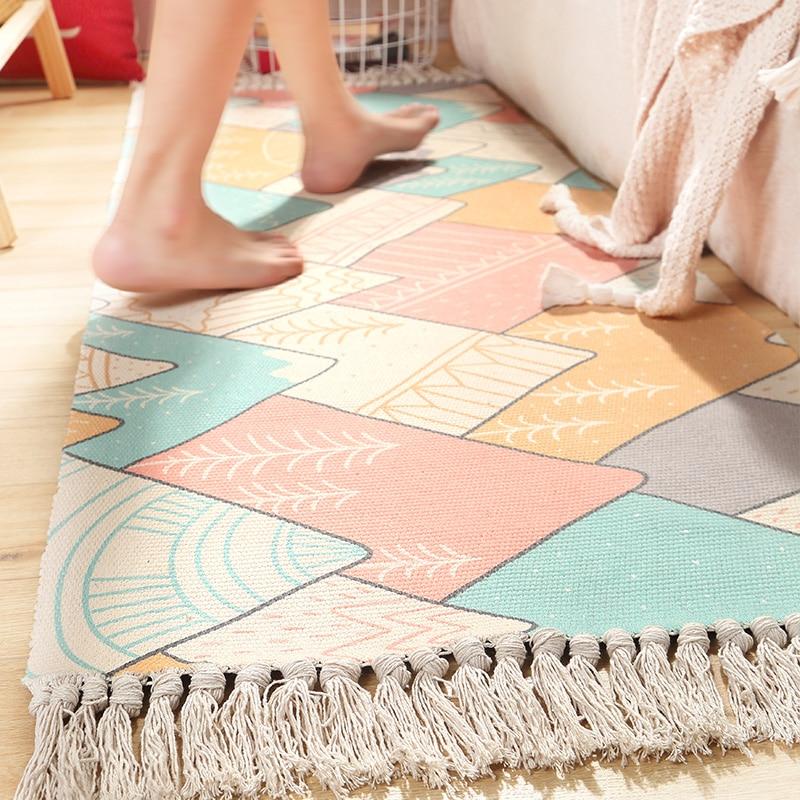 Cotton Linen Bedside Carpet Woven Mat Bedroom Runner Rug Living Room Carpets Hand Made Indian Rugs Bohemia Modern Printing Mat