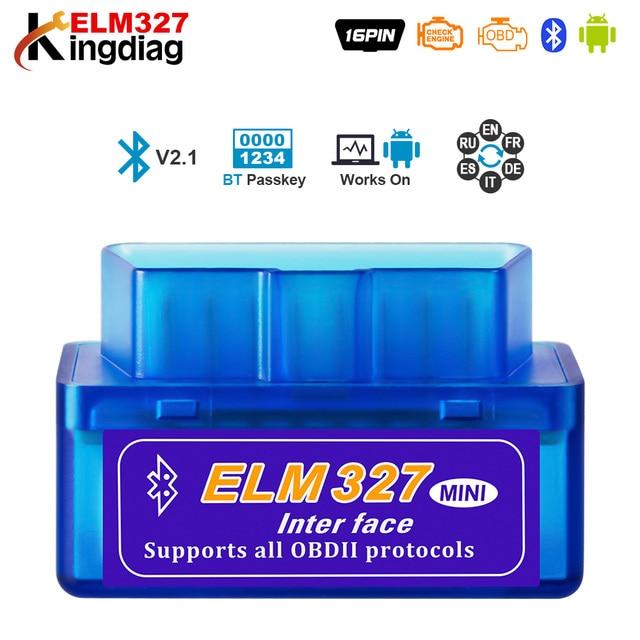 Мини ELM327 Bluetooth 2,0 Интерфейс V2.1 OBD2 OBD 2 Авто диагностический инструмент ELM 327 работает на Android Крутящий момент/PC v 2,1 адаптер BT