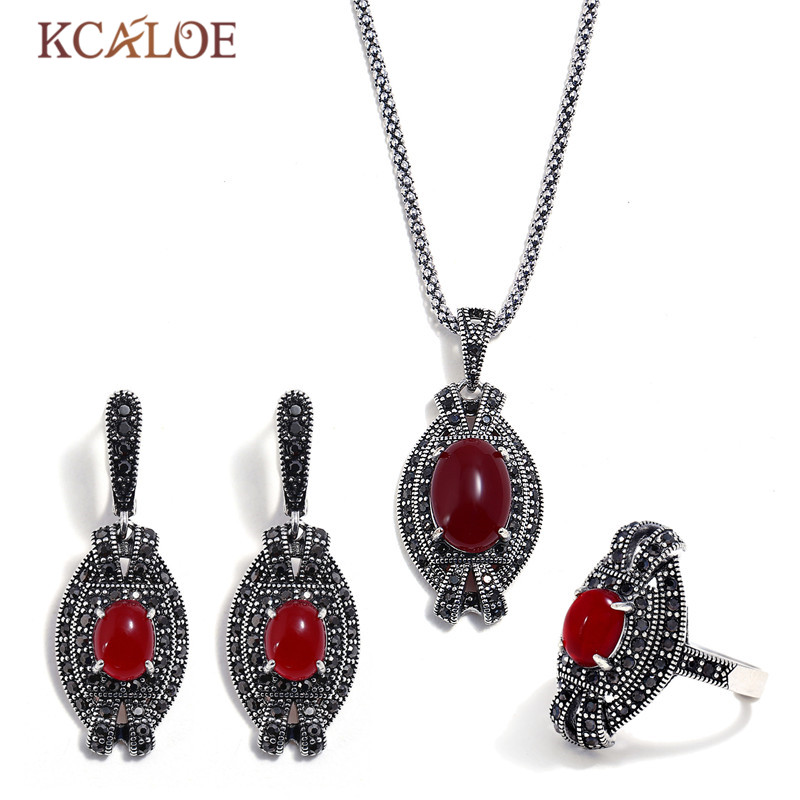 KCALOE Party Red Resin Stone Earrings And Necklace Ring Set For Women Bijoux Black Rhinestone Ladies Vintage Jewelry Sets a suit of charming rhinestone hollow out necklace bracelet ring and earrings for women