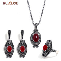 KCALOE Party Red Resin Stone Earrings And Necklace Ring Set For Women Bijoux Black Rhinestone Ladies Vintage Jewelry Sets