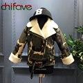 Fashion Baby Boys Girls Winter Zipper Camouflage Outerwear Jacket Turn-down Collar Lamb Wool Belt Decoration Unisex Kids Coat