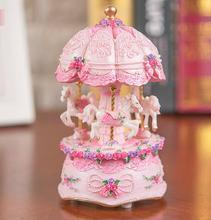 New Hand Cranked musical box Clockwork Type Swivel hobbyhorse Resin Creative princess birthday gift present wholesale FG512