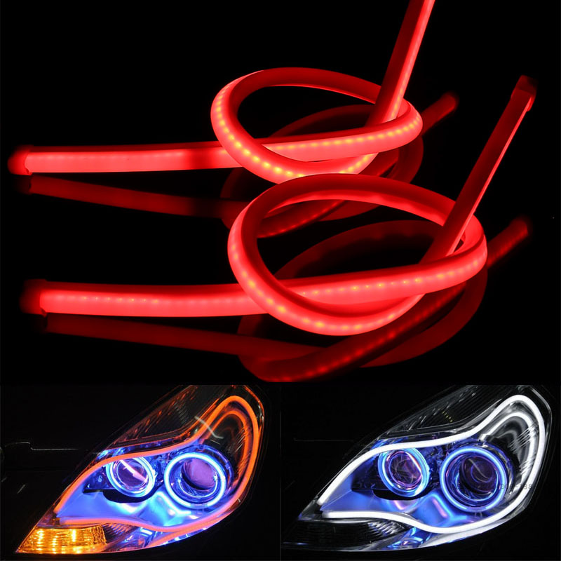 2 x Daytime Running Light Angel Eyes Universal Tube Guide Soft and Flexible Car LED Strip DRL and turn signal lights SP0F00 2pcs 12v car drl led daytime running light flexible tube strip style tear strip car led bar headlight turn signal light parking