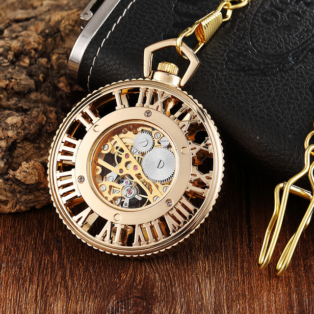 Luxury Mechanical Pocket Watch Hollow Gold Color Roman Numerals Fob Chain Clock