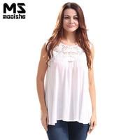 Mooishe Summer Casual Women Lace T Shirt Sleeveless Patchwork Loose White Women Basic T Shirt Tops