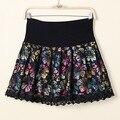 2016 Nuevo Verano de La Manera de Las Mujeres Short Mini Falda Elástico de La Cintura de Encaje Impreso Floral Bordado 3 Colores Patchwork Faldas Cortas