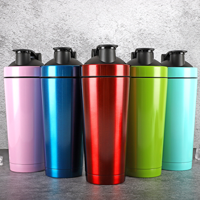 Stainless Steel Vacuum Insulation Shaker Thermos 720ML Double Wall Water Bottle Protein Powder Shaker Blender Car Thermos