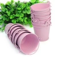 12pcs Cute Pink Mini Metal Bucket Chocolate Favors Tin Pails Keg Gift Candy Box Wedding Party