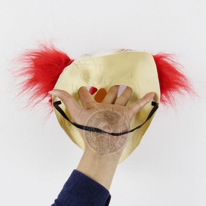 Broken Face Ugly Terrifying Clown Mask Хэллоуин Red Hair - Костюмдер - фото 4