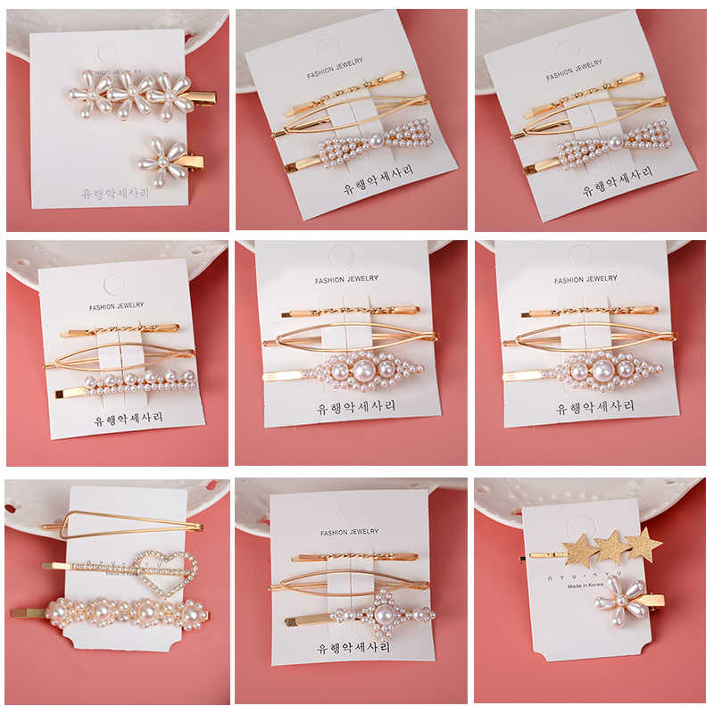 Korea Imitation Pearl Hair Barrettes Hair Clip Set for Women Girl Crystal Beads Hairgrips Heart Hair Pins Accessories Headwear