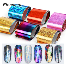Elessical 16pcs/set holographic Nail Foil Transfer Designs tools Decal For Polish foils Art Decorations Stickers 3d