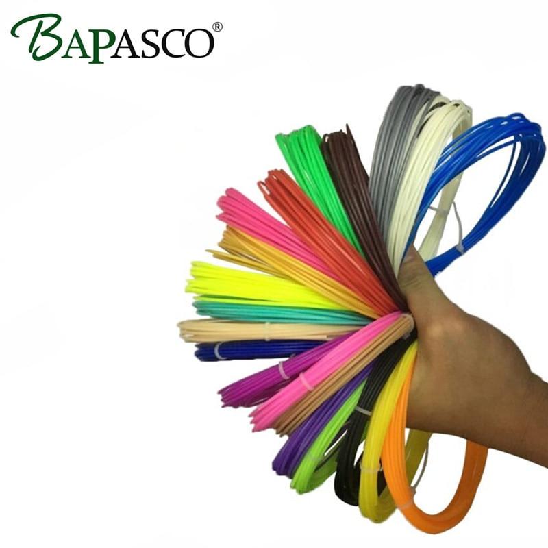 Novos orixinais BAPASCO 10 cores ou 15 cores / conxunto de filamentos de ABS 20mm para 1.75D Pen And 3D Impresora 3 Contador / Cor