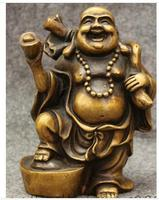 totem Chinese Bronze Wealth YuanBao Happy Laughing Maitreya Buddha Statue Money Bag Art Bronze sculpture home decoration