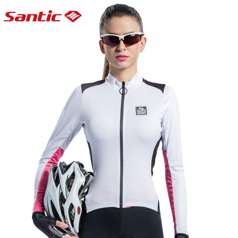 SANTIC femmes cyclisme Jersey à manches longues Triathlon vélo vélo vestes respirant course Fitness Camping Gym Jersey Sportswear