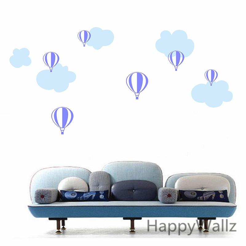 Hot Air Balloon Wall Sticker Balloon Clouds Baby Nursery Wall - Nursery wall decals clouds