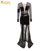 Winter Lace Long Sleeve Mesh See Through Split Elegant Night Club Dress New Women Black Long