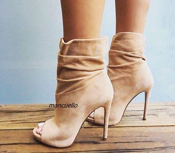 2088fadb2650 Chic Beige Suede Ankle Boots Fancy Women Plain Peep Toe Stiletto heel  Sandal Booties Fashion Wrinkled Design Platform Sandals
