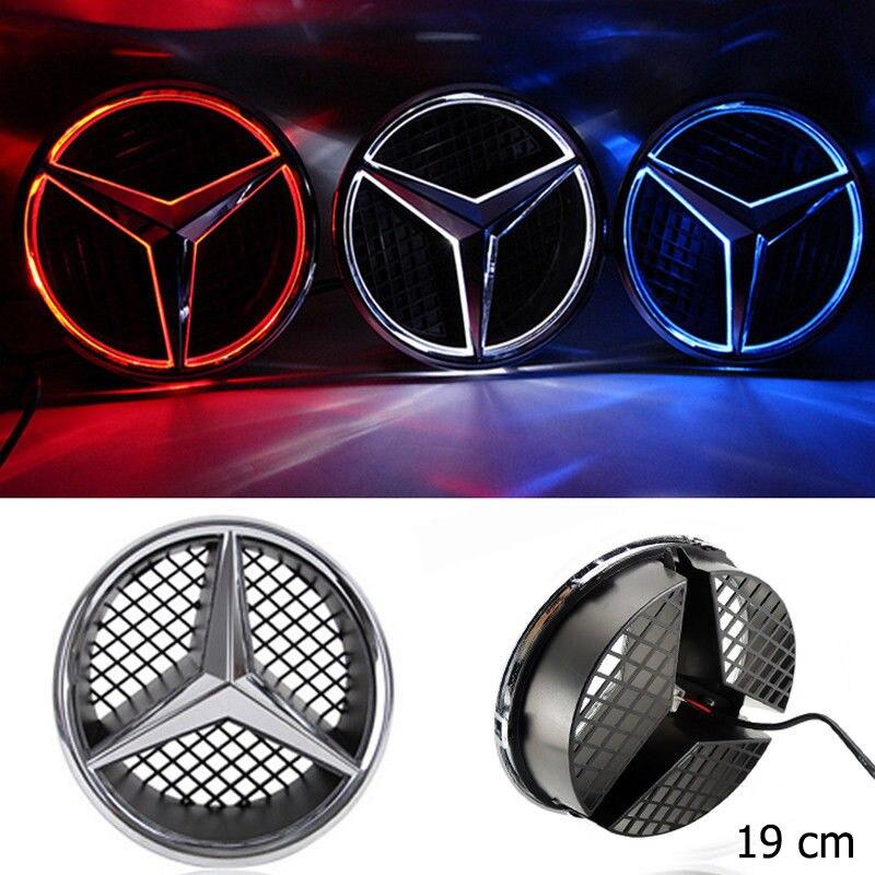 SITAILE Voiture LED Lumière Avant Grille Logo Emblème Badge pour Mercedes Benz Capot Ornement snap-in Taille 19 cm /7.48 pouce W204 Bleu Rouge