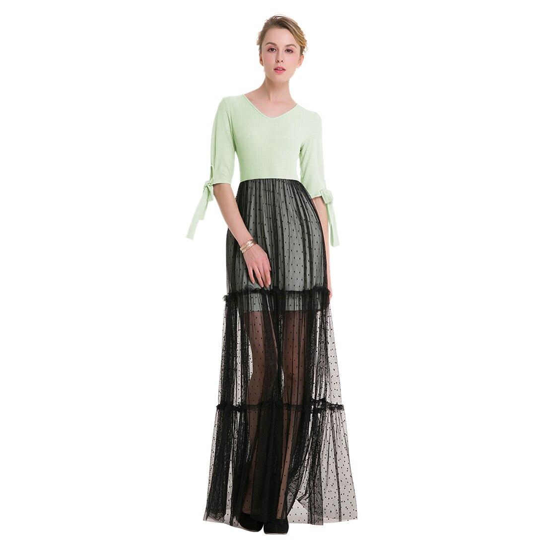 TFGS Original Design Women Elegant Lace Dress Patchwork Lace Dot V Neck Half Sleeve Ankle Length