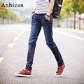 Anbican 2017 Primavera Moda Slim calças de Brim Dos Homens Comprimento Total Reta Bolsos Jeans Stretch Marca New Masculino Jeans Skinny Tamanho 27-36