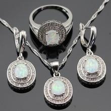 Austrália branco opala prata cor conjuntos de jóias para o natal feminino zircônia cúbica colar pingente brincos anéis caixa de presente