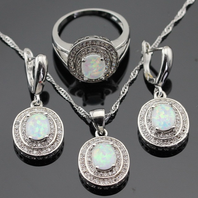 Australia White Opal Silver Color Jewelry Sets For Women Christmas Created Topaz Necklace Pendant Drop Earrings Rings Gift Box
