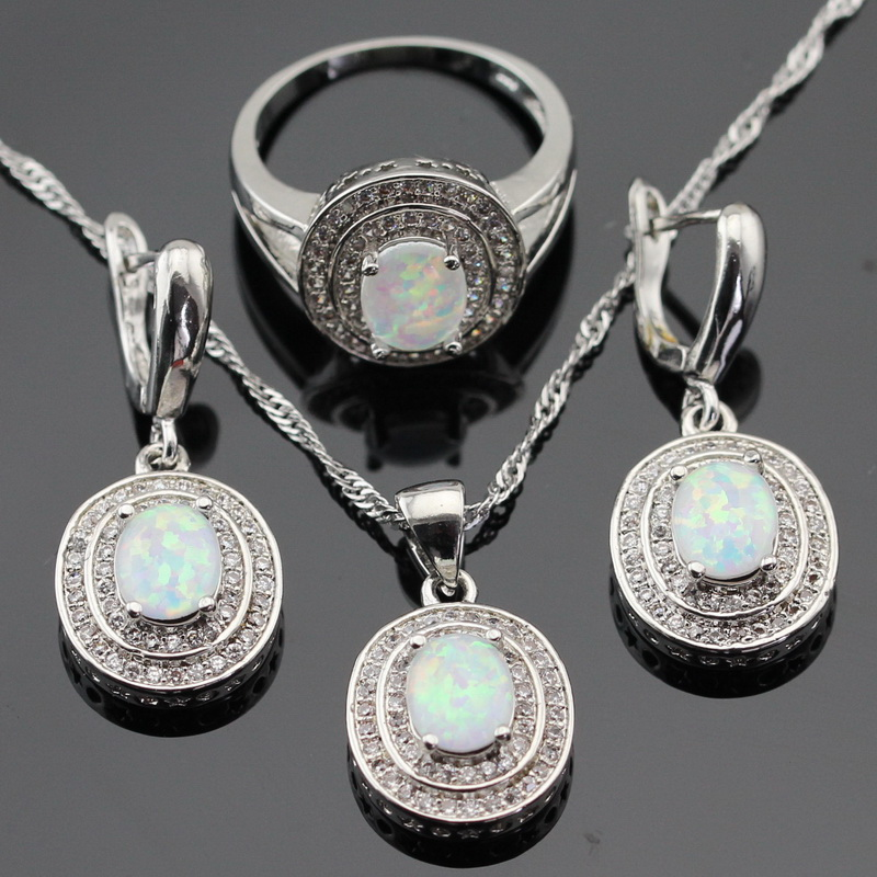 Australia White Opal Silver Color Jewelry Sets For Women Christmas Cubic Zirconia Necklace Pendant Drop Earrings Rings Gift Box orange morganite stylish jewelry set for women white zircon gold color rings earrings necklace pendant bracelets