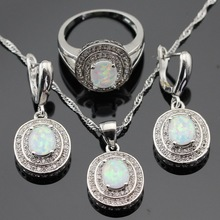 Australia White Opal Silver Color Jewelry Sets For Women Christmas Cubic Zirconia Necklace Pendant Drop Earrings Rings Gift Box